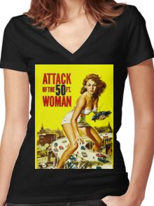 Attack of the 50 foot woman Women's Fitted V-Neck T-Shirt