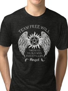 Two boys,an old man and a fallen angel Tri-blend T-Shirt