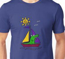 Funny Cute Alligator or Crocodile on Sailboat Unisex T-Shirt