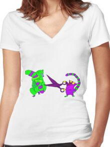 Crazy lemur with scissors Women's Fitted V-Neck T-Shirt