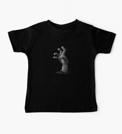 Zombie Grasp Pixels Black and White Baby Tee