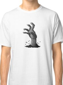 Zombie Grasp Pixels Black and White Classic T-Shirt