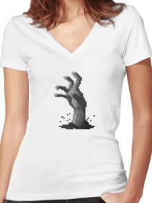 Zombie Grasp Pixels Black and White Women's Fitted V-Neck T-Shirt