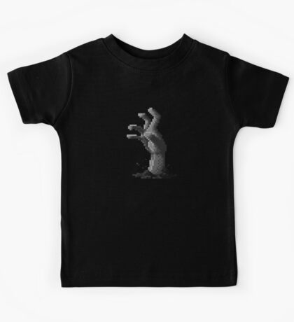 Zombie Grasp Pixels Black and White Kids Tee