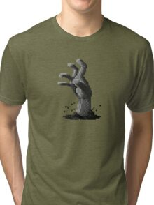 Zombie Grasp Pixels Black and White Tri-blend T-Shirt