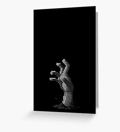 Zombie Grasp Pixels Black and White Greeting Card
