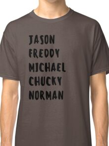 Favorite Horror Character Names Classic T-Shirt