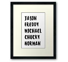 Favorite Horror Character Names Framed Print