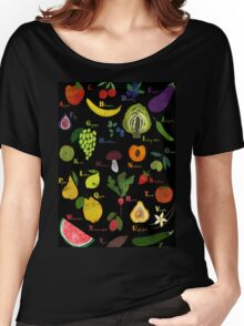 Fruit and vegetables English alphabet on dark Women's Relaxed Fit T-Shirt