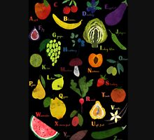 Fruit and vegetables English alphabet on dark Unisex T-Shirt