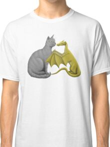 Gray Cat Meets Tiny Gold Dragon Classic T-Shirt
