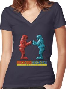 Rock'em Sock'em - 3D Variant Women's Fitted V-Neck T-Shirt
