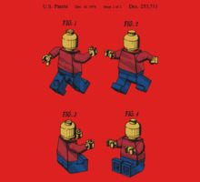 Lego Man Patent - Colour (v3) One Piece - Short Sleeve