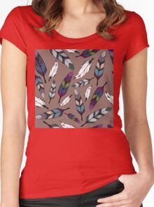 Colorful tribal feathers print. Vector illustration Women's Fitted Scoop T-Shirt