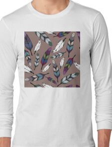 Colorful tribal feathers print. Vector illustration Long Sleeve T-Shirt