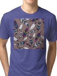 Colorful tribal feathers print. Vector illustration Tri-blend T-Shirt