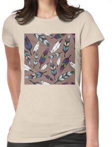 Colorful tribal feathers print. Vector illustration Womens Fitted T-Shirt