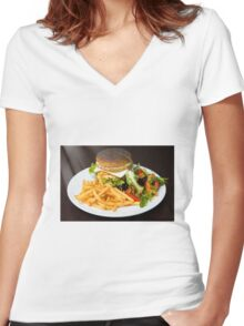 Chicken burger Women's Fitted V-Neck T-Shirt