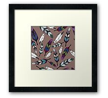 Colorful tribal feathers print. Vector illustration Framed Print