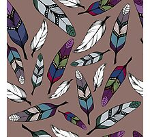 Colorful tribal feathers print. Vector illustration Photographic Print