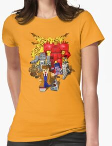 8bit world Time traveller vs Retro enemies Womens Fitted T-Shirt