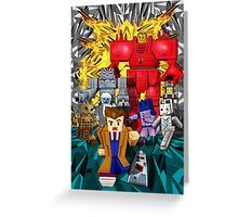 8bit world Time traveller vs Retro enemies Greeting Card