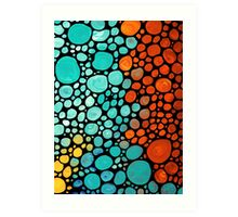 Abstract 3 - Colorful Mosaic Art Aqua Orange Yellow Art Print