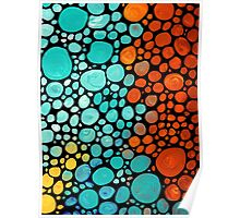 Abstract 3 - Colorful Mosaic Art Aqua Orange Yellow Poster