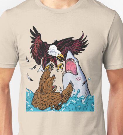 Nature Vs Nature - Bear VS Eagle Vs Shark Threesome Unisex T-Shirt