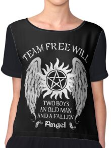 Two boys,an old man and a fallen angel Chiffon Top