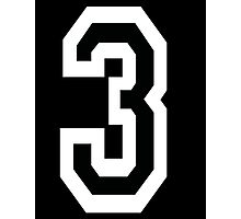 3, TEAM, SPORTS, NUMBER 3, THREE, THIRD, Competition, White on Black Photographic Print