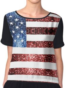 USA flag red & blue sparkles Chiffon Top