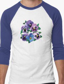 Circle of Purple Pansies Men's Baseball ¾ T-Shirt