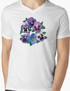 Circle of Purple Pansies Mens V-Neck T-Shirt