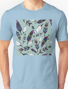Colorful tribal feathers on mint background. Vector illustration print Unisex T-Shirt