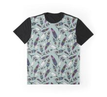 Colorful tribal feathers on mint background. Vector illustration print Graphic T-Shirt