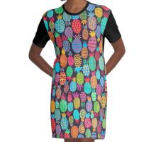 Colorful pineapples  Graphic T-Shirt Dress