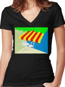 Terrace with table and chair Women's Fitted V-Neck T-Shirt