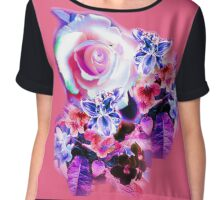 FLORAL ELECTRIC ROSE/COLLECTION Chiffon Top