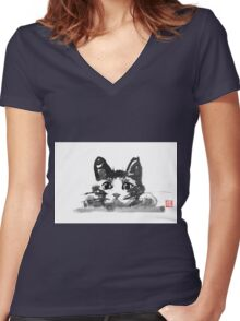 hiding cat Women's Fitted V-Neck T-Shirt