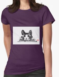 hiding cat Womens Fitted T-Shirt