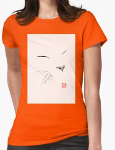 white cat Womens Fitted T-Shirt