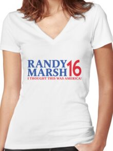 RANDY MARSH '16 - I THOUGHT THIS WAS AMERICA! Women's Fitted V-Neck T-Shirt