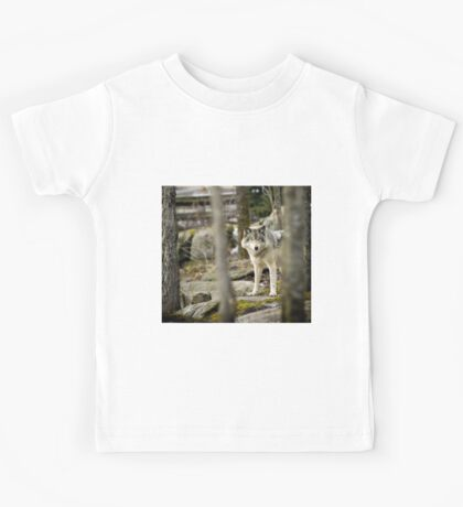 Timber Wolf Between the Trees Kids Tee