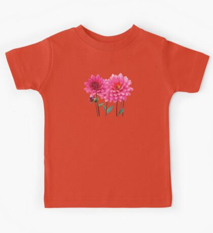 Row of Pink Dahlias Kids Tee