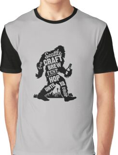 Seattle Craft Brew Hop Until You Drop Sasquatch Fun Cool Beer funny tshirt Graphic T-Shirt