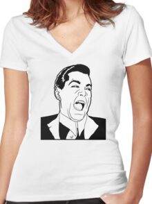 Ray Laugh Meme by Tai's Tees Women's Fitted V-Neck T-Shirt