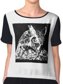 black owl Chiffon Top
