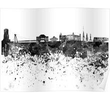 Bratislava skyline in black watercolor Poster