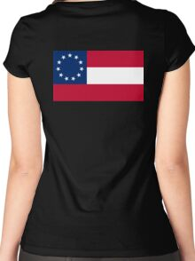 Stars & Bars, USA, America, First American National Flag, 11 stars, 1861, on black Women's Fitted Scoop T-Shirt